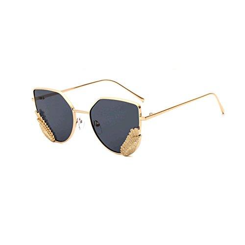 GAMT Sunglasses Metal Frame Cat Eye Mirrored Lenses Sunglasse Gold Frame Grey - Shape Face Frames For Choosing