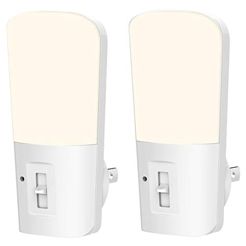 - LOHAS Dimmable Night Light, Plug in Light Dusk to Dawn Light, Daylight 5000k from 5lm to 80lm Brightness Adjustable 180 Degree Mini Wall Night Light for Bedroom Stairway Nursery 2 Pack