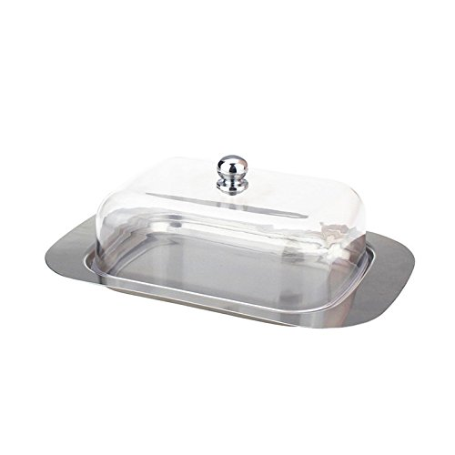 Emousport Top Stainless Steel Butter Dish Box Container Cheese Server Storage Keeper Tray with See-through Acrylic Easy Lid