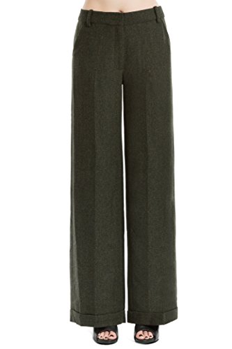 Herringbone Wool Trousers (Max Studio by Leon Max Heathered Wool Herringbone Wide Legged Trousers - 6207A04-DKGRN/BK-8)