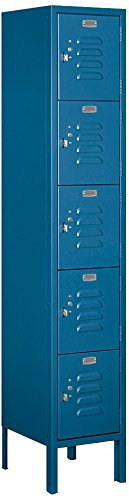 Salsbury Industries 65152BL-U Five Tier Box Style 12-Inch Wide 5-Feet High 12-Inch Deep Unassembled Standard Metal Locker, Blue by Salsbury Industries