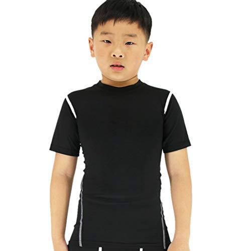 LANBAOSI Boy's Compression Shirts Child's Short Sleeve Base Layer Tops Black