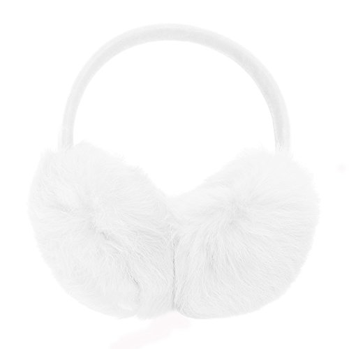 ZLYC Womens Girls Genuine Rabbit Fur EarMuffs Adjustable Ear Warmers, White White Earmuffs