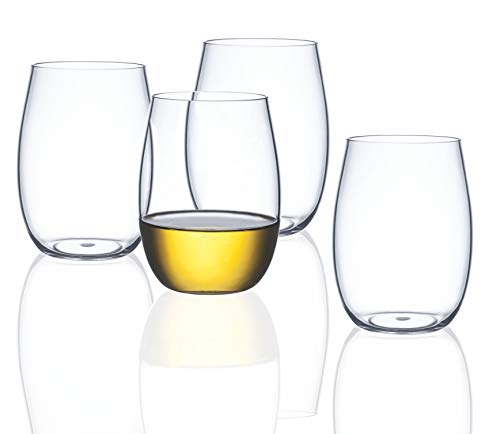 FDCuvée Set of 4 Thin As Glass 15 oz Unbreakable Stemless All Purpose Wine & Spirit Glass | 100% Tritan | Not Glass Material | Dishwasher safe | Odorless | BPA Free | Indoor Outdoor Parties Camping (Herbal Wine Merlot)