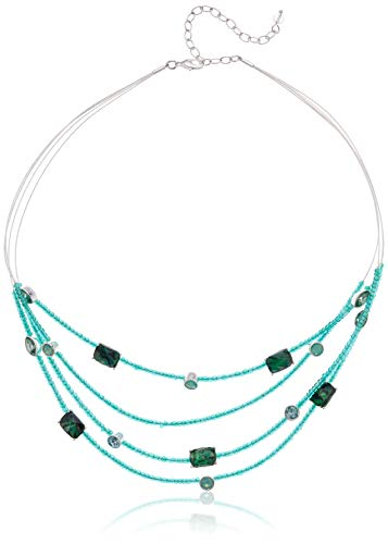 - Napier Women's Green Abalone and Beaded Multirow Necklace