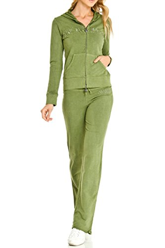 Vertigo Paris Women's French Terry Embroidered Logo Lounge Jog Set - Jade - Medium (Tracksuit Logo)