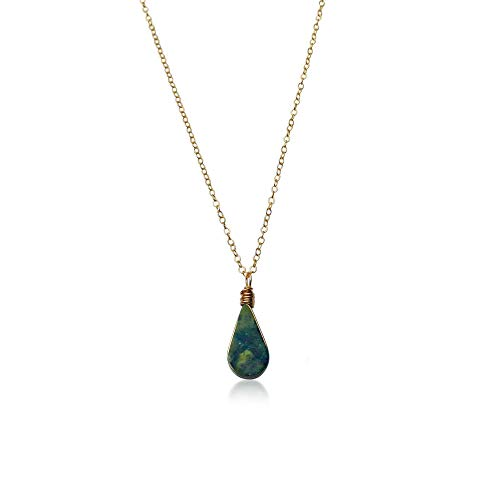 Green Stone Necklace with Serpentine Teardrop Pendant in 14K Gold Fill 18