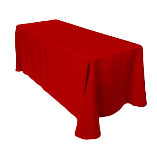 Surmente Tablecloth 90 x 132-Inch Rectangular Polyester Table Cloth for Weddings, Banquets, or Restaurants (Red) ...]()