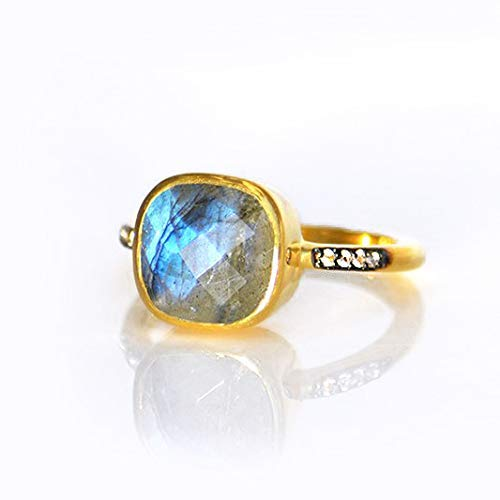Labradorite pave ring, white topaz paved ring, Vermeil Gold or silver, bezel set ring, cushion ring, grey gemstone ring, Birthstone ring, square ring, blue labradorite