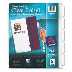 AVE75500 - Clear - AveryIndex MakerClear Pocket Presentation Divider - Kit of 5 ()