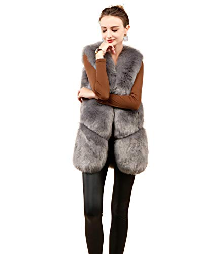 Folobe Gray Gilet Fur Faux 'soft Womens Per Vest Adulto 661npgx7