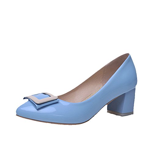 AmoonyFashion Women's Pull On Pointed Closed Toe Kitten Heels Pu Solid Pumps-Shoes, Skyblue, - Cheap Prada Outlet