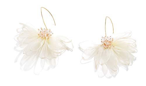 (Fabric Petal Drop Earrings - Flowers Dangle Earrings with Chiffon Floral Tassel for Vacation, Wedding, Daily wearing, Women's Gift (Lotus flower earring white))
