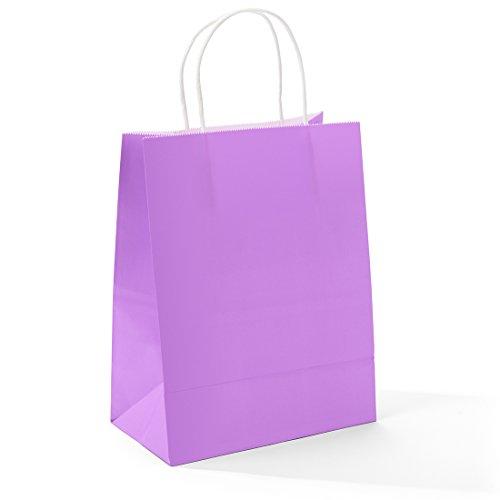 Halulu 8x4.75x10 50 Pcs Kraft Paper Bags Shopping Bags Grocery Mechandise Paper Gift Bags (Purple)