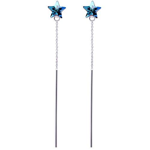 Bar Earrings - Blue Star Shaped Stud Earrings Long Drop Dangling Bar White Gold Hypoallergenic Earrings for Women ()