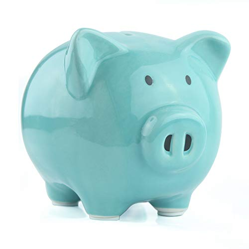 KOHIENWO Piggy Bank Classic Cute Ceramic Coin Money Piggy Bank, Mini & Small Makes a Perfect Unique Gift, Nursery Décor, Christmas Keepsake, Or Savings Piggy Bank for Kids Adult (Blue)