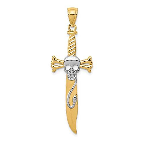 - 14k Yellow Gold and White Rhodium Skull and Crossbones Sword Pendant