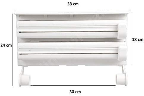 RYLAN Plastic Triple Tissue Paper Dispenser 4 in 1 Foil Cling Film Tissue Paper Roll Holder for Kitchen Triple Paper Roll Dispenser and Holder for Tissue Paper Roll, Kitchen Tissue Holder Stand. 4