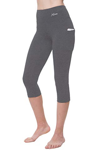 NIRLON Capri Leggings for Women High Waist Workout Capris Yoga Pants Plus Size (Small, Heather Grey+Pocket 18