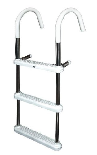 3 Step Gunwale 11'' Hook Ladder, Anodized Aluminum - Jif Marine