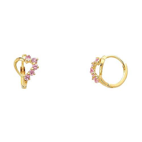 14k Yellow Gold Heart Pink CZ Huggie Earrings (10 x 10 mm) ()