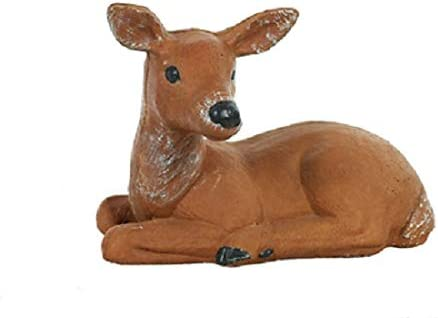 Solid Rock Stoneworks Resting Fawn Stone Statue 12in Tall Lifelike Hand Painted