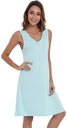 Nightie Nightgown - NEIWAI Women's Sleep Shirt Bamboo Nightgowns V Neck Nightshirt Aqua Green M