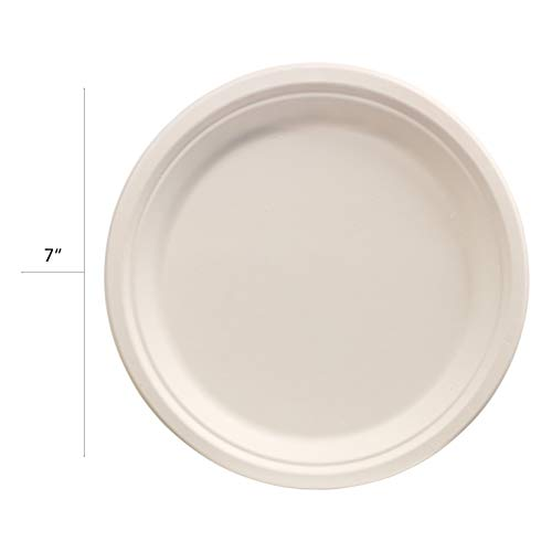 100 Pack of 7'' Round Organic Bagasse Plates Ecofriendly Disposable Small Plates for Picnic, Party, Catering & Everyday Use - Stock Your Home by Stock Your Home (Image #4)