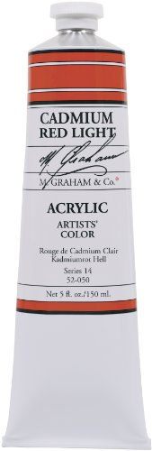 M. Graham & Co. 5-Ounce Tube Acrylic Paint, Cadmium Red Light Acrylic Colors Cadmium Red Light