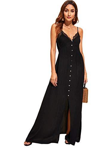 on Front Lace Trim Spaghetti Strap Split Maxi Dress Black S ()