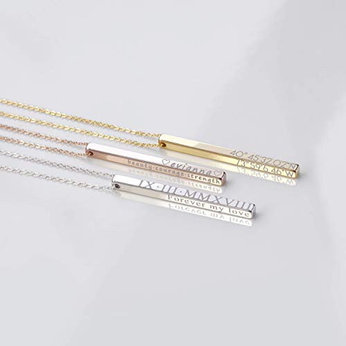 Top 10 engraved vertical bar necklace silver