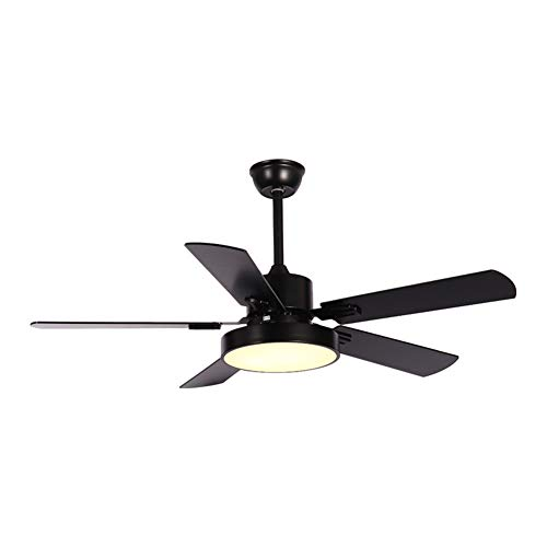 (NAF Modern Ceiling Fan Light 107/137cm 5 Reversible Wooden Blades with Remote Control LED Dimmable Lighting kit Iron + Acrylic Black/White)