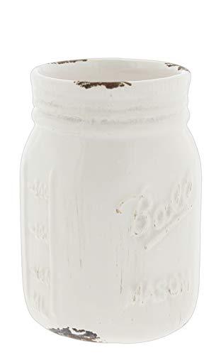 Napco Distressed White Ceramic Mason Jar Vase, -