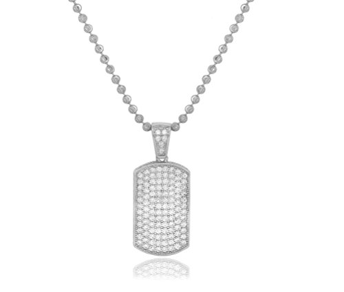 NYC Sterling Men's .925 Silver Cubic Zirconia Dog Tag Pendant Necklace, 2MM Moon Cut Chain Included (Sterling Silver)