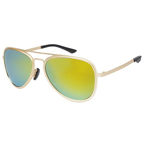 Aoron® Lightweight Flat Metal Aviator Sunglasses with Polarized Lens Mirror or Plain Lenses A228 (Yellow mirrored)