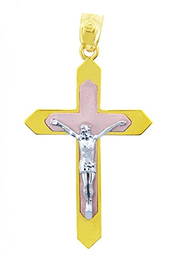 Petits Merveilles D'amour - 14 ct 585/1000 3 couleurs Or Crucifix - Le crucifix Pendentif Majesté