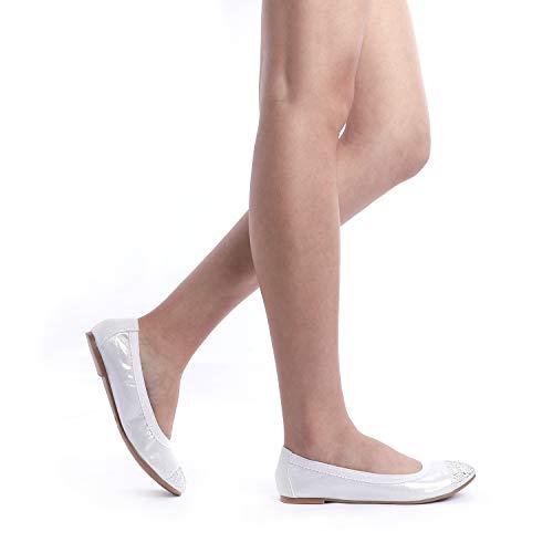 Comfortable D DREAM Ballerina Ballet Women's Lady FLEXSOLE Elastic PAIRS Shoes New WHITE Flexible Flats wcqBq07Tr