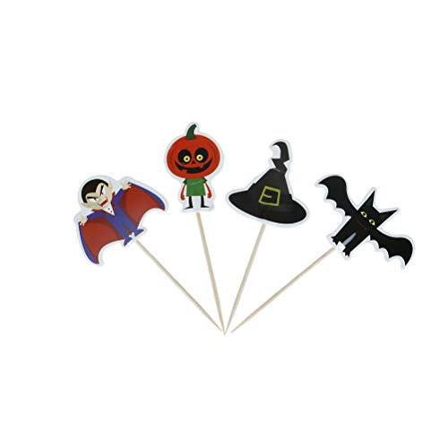 Cake Decorating Supplies - 24pcs Set Halloween Cake Cupcake Pers Picks Party Decoration Vampire Bat Pumpkin Witch Hat - Case Stand Large Molds Russian Year Butter Viporama Bags Baby Paper Flower ()