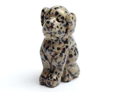 RXIN 2 Inch Sitting Dog Statuette Natural Crystal Hand Carved Dalmatian Sculpture Home Cabinet Decoration Ornament