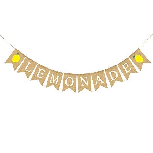 Rainlemon Jute Burlap Lemonade Banner Rustic Summer Family Party Mantel Fireplace Decoration]()