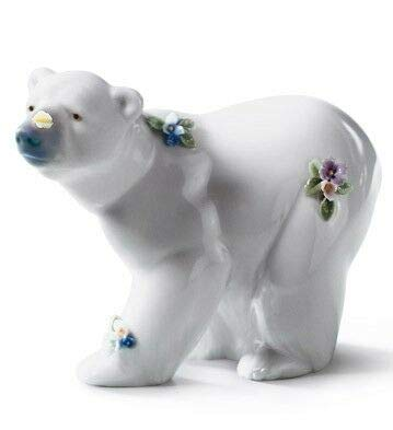 Lladro Attentive Polar Bear with Flowers Figurine