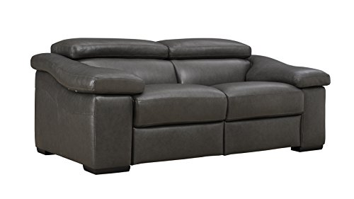 Natuzzi Editions Ignazio Anthracite Leather Motion Loveseat (Natuzzi Italian Leather Furniture)
