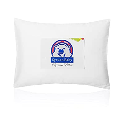 Syruan Toddler Pillow with Pillowcase - 13X18 White Organic Cotton Baby Pillows for Sleeping - Washable & Hypoallergenic- Perfect for Travel Pillows