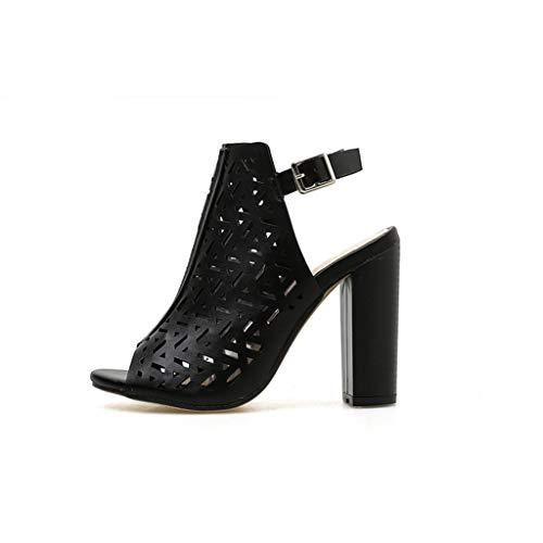 (Respctful✿Women High Heels Sandals Cutout Ankle Strap Platform Chunky Sandal Roman Platform Wedge Shoe Black)