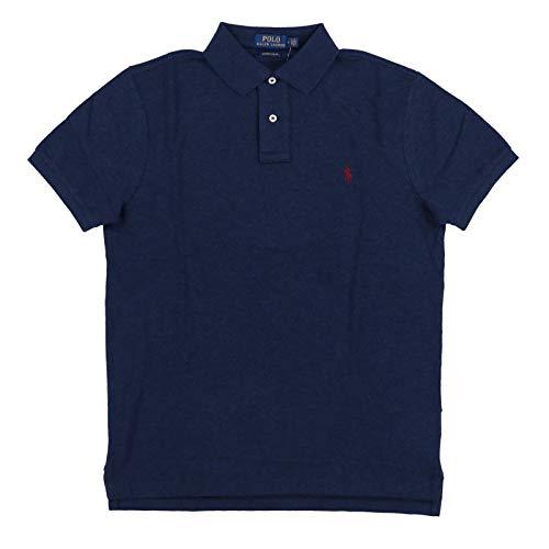 Polo Ralph Lauren Mens Custom Slim Fit Polo Shirt (Large, Navy Heather) ()