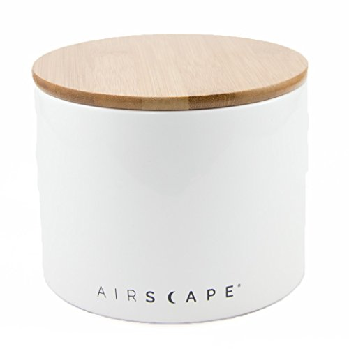 """Airscape Ceramic and Food Storage Canister, 4"""" Small - Patented Airtight Inner Lid Preserves Food Freshness - Glazed Ceramic with Bamboo Top - Snowflake White"""