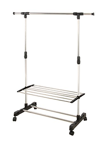 Clothes Garment Rack on Wheels Metal Portable Modern Storage