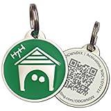 Green Home Zinc Alloy QR Code Pet ID Tag w/ Smartphone/Web GPS Location Enabled