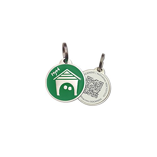 PetDwelling Advanced Xmas Green Home QR Code Pet ID Tag w/Free Online Pet Profile/Scanned GPS Location(Holiday Deal)