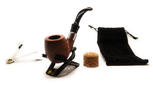 Pipesmith- The Sherlock Premium rosewood tobacco pipe w/ smoking pipe accessories Model No.1 9mm